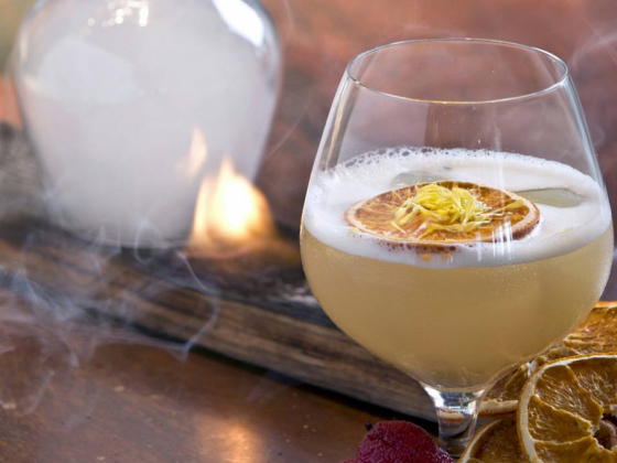 Las Vegas cocktail is made with fire and smoke