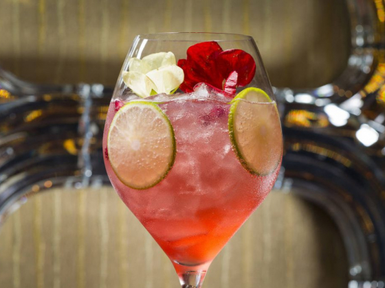 Andrea's at Wynn Las Vegas makes a floral Pretty in Pink cocktail