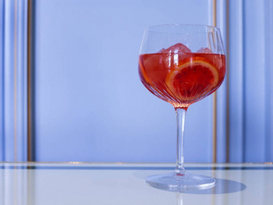 Sadelle's at Bellagio makes a light, bubbly Blood Orange cocktail