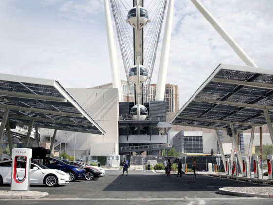 New charging station for Tesla cars open on Las Vegas Strip