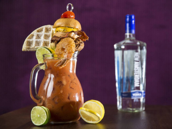 Bloody mary pitcher in Las Vegas is topped with a full meal — VIDEO