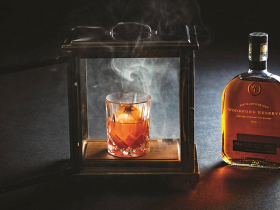 Cocktail at Hell's Kitchen Las Vegas is served in a smoke box