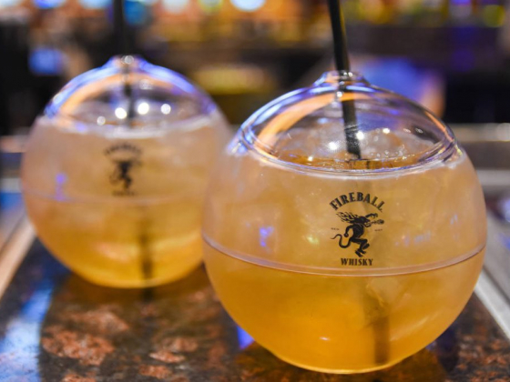 Sip the Angry Balls cocktail in a cool orb